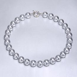 collana rotonda della perla della madre Sconti Dropshipping 13-14 mm Madreperla rotonda Silver Pearl Necklace, collana di Shell, regalo di compleanno per le donne