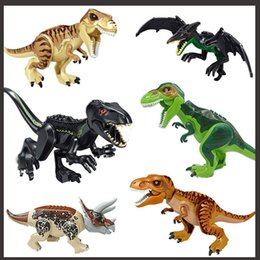 grandi cifre d'azione Sconti Dinosaur Building Blocks 3D Assembly ABS Plastic Dunosaur Miniature Action Figp OPP Jurassic Park The Dinosaur World For Kids