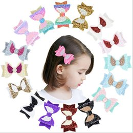 girls sequin ties Coupons - Hair Barrette Hairpin Designer Hair Bow Accessories Girls Fashion Clip Bows Lovely Wings Sequin Girl Hair Tie Knot Hairpin Handmade