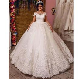 2019 corsé de porcelana por encargo Fuera del hombro Vestido de fiesta Vestidos de novia Apliques de encaje Vestido de boda de la iglesia Abric Dubai Longitud del piso Princesa Vestido de novia