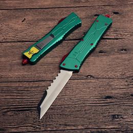 Equipo de supervivencia edc online-MT A10 UTX Cuchillo de camping Mango de aluminio verde Automático de doble acción Plain Survival Camping gear knives