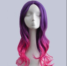 Pelucas anime girl online-WIG envío gratis New Anime Womens Lolita estilo largo pelo ondulado Cosplay Party Cool Girl peluca llena