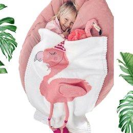 2019 mattenhäkelarbeit 3 stile 60 * 120 cm Baby schlafdecken Flamingo Decke Kinder Wollfaden Gestrickte 3D Decke Strandmatte Häkeln Wickeltuch FFA2865 rabatt mattenhäkelarbeit