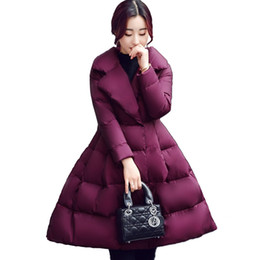 Winter Parkas Frauen Baumwolle Jacke Mode A Linie Daunen Baumwolle Jacken Dicke warme lange schlanke weibliche Bow Big Swing Mäntel N247