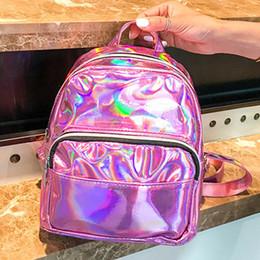 coreano escola sacos rosa Desconto 2019 Mini Sacos Para As Mulheres Prata Rosa Moda Mochila A Laser Saco Da Juventude Adolescentes Meninas Coreano Tendência Personalidade Saco de Escola