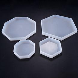 escritorio flexible Rebajas Diy molde de silicona epoxi hexagonal y octagonal flexible moldes de silicona decoración de escritorio moldes manual Craft Tool Supplies para joyería