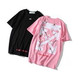 bandana de chien noir Promotion 1906 # Nouveau hors Cherry Blossoms Hommes Tshirts Été blanc Designer Astroworld Lettres Imprimer T-shirt À Manches Courtes hommes / femmes Tops