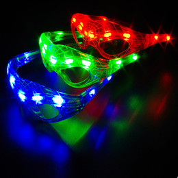 favores de la rosa azul Rebajas Led Spiderman Flashing Glasses Party Dance Cheer Máscara Luz que brilla intensamente Navidad Halloween Cosplay Glass Regalo WX9-1100