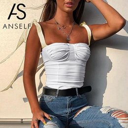 cima del serbatoio stretto Sconti New Sexy Women Tank Top Bandage Strap Senza maniche Slim Slim Vest Crop Top Nero / Beige