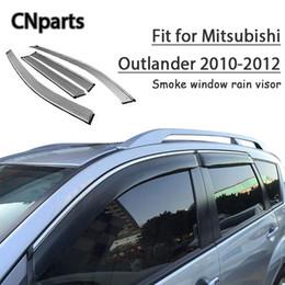 Outlander abs on-line-CNPARTS 4pcs ABS para Mitsubishi Outlander 2010 2011 2012 Car Smoke Visor Janela manter fresco de ar e acessórios de convecção