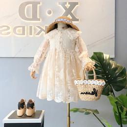 Bordado vestido gaze on-line-vestidos meninas miúdos rendas gaze vestido bordado floral princesa crianças lapela vestido de festa manga Falbala nova queda roupas miúdo