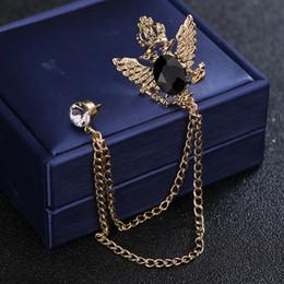 Inghiottire i vestiti online-Spille di design in acciaio inox di lusso per le donne degli uomini di cristallo placcato oro rondine spilla catene spille decorazione di abbigliamento