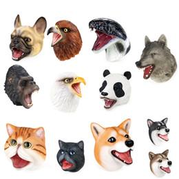 Cachorros de brinquedo de plástico para crianças on-line-9 Estilos de Animais Fantoches de mão 13x15 cm Crianças macio plástico storytelling desempenho partido adereços brinquedos cão lobo cobra águia Dedo brinquedos