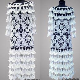 67480747ce9b Vestido de crochê parisiense. Casamento de rendas artesanais de mulheres  brancas ou ocasião especial vestido de crochê de algodão orgânico.