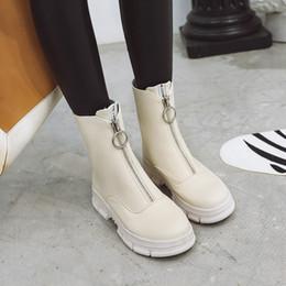 sapatos frontais Desconto PXELENA Sreet Mulheres Botas de Combate Do Tornozelo Do Punk Goth 2019 Outono Designer De Plataforma Zip Robusto Trepadeiras Sapatos de Conforto Da Senhora Vermelho