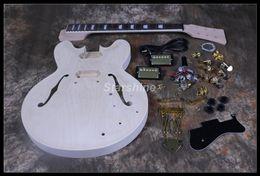 2019 gitarren körper unvollendet Starshine DIY E-Gitarre DK-DP11 Gitarrensatz Flat Maple Top Semi Hollow body Unfinished Guitar rabatt gitarren körper unvollendet