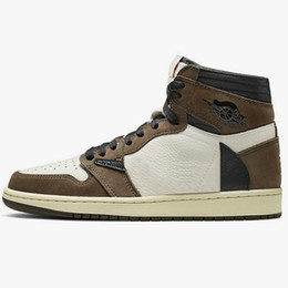 mens high lace up boots Coupons - 2019 High Quality Travis Scott 1 Mens Basketball Shoes Sneakers 1s Suede Brown Dark Mocha Men Athentic Sports Designer Trainers size 36-46