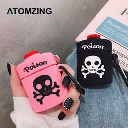 wholesale bone boxes Promo Codes - For AirPods 2 Case Cute 3D Cartoon Poison Skull Bone Earphone Case For Apple Airpod Soft Silicone Protect Cover Funda Pink Black