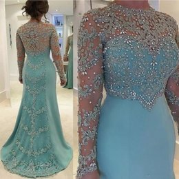 elastic long sleeves t shirt women Coupons - 2019 Mint Green Vintage Mermaid Mother Of The Bride Dresses Long Sleeve Beads Crystal Lace Appliqued Plus Size Evening Gowns for Women