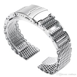 20мм / 22мм / 24мм ширина сетки акула серебряный ремешок для часов ремешок из нержавеющей стали высокого качества классные часы замены складной застежка от