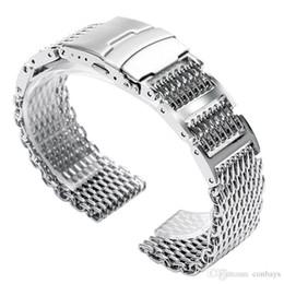 Malla de banda de reloj 22mm online-20mm / 22mm / 24mm Ancho Mesh Shark Silver Correa de reloj Correa de acero inoxidable de alta calidad Reloj fresco Reemplazos Corchete plegable