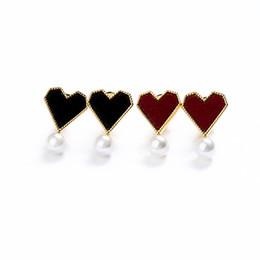 Coreano coração forma brinco on-line-Personalizado marca de moda s925 agulha de prata esterlina coração forma brincos de pérola de cobre, estilo coreano pequena flanela em forma de coração do parafuso prisioneiro da orelha