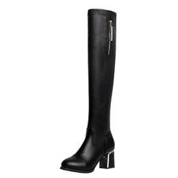 2019 stivali alti a ginocchio Stivali sopra il ginocchio per donna Stivali alti con tacco quadrato in pelle con cerniera sopra le scarpe da donna femminili con strass al ginocchio stivali alti a ginocchio economici