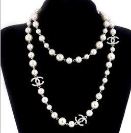 2019 joyería de cruz de oro mexicana 2019 Free Ship style 2 capas collar de perlas suéteres collares diseñador gratis lady Perfume número 5 mujeres sin cuello collar largo collares