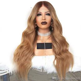 Deutschland Synthetisches Haar 180% Dichte Natürlicher Haaransatz Dunkelbraun Ombre Blonde Lange Körperwelle Volles Haar Perücken Lace Front Perücke Für Frauen Versorgung
