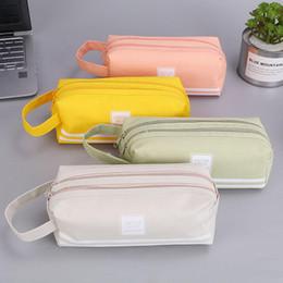 Bolsa de tela de papelería online-Suministros portátil de doble capa Diseño de gran capacidad de la cremallera de la pluma bolsa de tela Oxford caja de lápiz de almacenaje de los efectos de la escuela bolsa