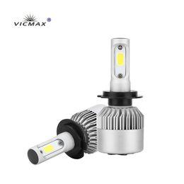 замена ламп накаливания Скидка S2 авто Автомобиль H3 H7 H8 880 9005 светодиодные фары 2x36w 6500K 8000lm 12V COB лампы 2Sides диоды белые автомобили заменить части лампы