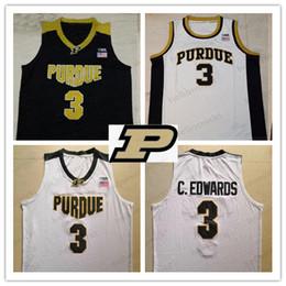 v basquete basquete basquete Desconto Qualidade superior # 3 Carsen Edwards Purdue Boilermaker com decote em v Basquete gola Redonda Jersey preto branco Homens de Ouro Da Juventude Criança costurada Jerseys