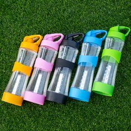 Plastikdüsenflaschen online-Fahrrad Außenleuchte Wasserflasche Kunststoff Saugdüse Radfahren Tragbare Tasse Blau Gelb Blau Einfache Glas Heißer Verkauf 24ybD1