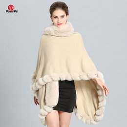 Длинный плащ-пончо онлайн-Fashion Luxury Handcraft  Fur Coat Cape Long Big Cashmere Faux Fur Overcoat Cloak Shawl Women Autumn Winter Wraps Poncho