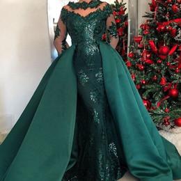 Vestidos de noite elegantes verde esmeralda on-line-Esmeralda Verde Mangas Compridas Sereia Vestidos de Noite com Saia Destacável Árabe Kaftan Dubai Prom Dresses 2019 Elegante Vestido Formal