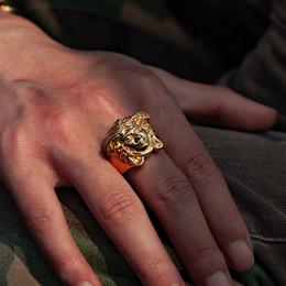 2019 tamaño del anillo topacio amarillo Nueva granel medusa manera del anillo de oro de acero de titanio anillo de Pandora alta calidad Anillo de par de Infinity joyería al por mayor