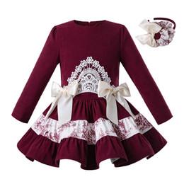 2019 diseñador de manga larga vestidos de novia Pettigirl Wine Red 2019 El más nuevo vestido largo de las muchachas del partido de las muchachas del vestido de la boda del cumpleaños de los niños del diseñador Ropa de las muchachas G-DMGD110-C102 diseñador de manga larga vestidos de novia baratos