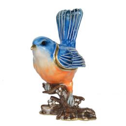 caixas de jóias de embalagem de veludo Desconto Caixa de Jóias Caixa de Jóias De Esmalte Azul Pássaro Pássaro Estanho Estanho Anel Recipiente Presente Criativo