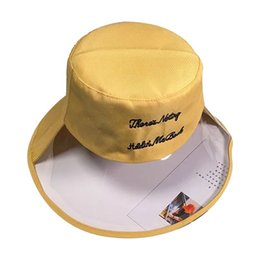 praia larga dos quadris Desconto Mulheres Meninas Semi Transparent Plastic Beach Sun Visor Fisherman Hat letras bordadas Hip-Hop Aba larga Cap Bucket Flat Top