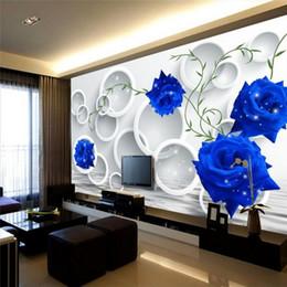 2020 обои для рабочего стола Пользовательские Фото обои Mural стикер стены Circle Blue Rose простой телевизор фон Обои Mural Papel де Parede дешево обои для рабочего стола