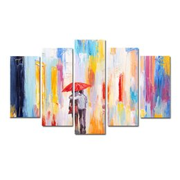 abstract rain painting Coupons - 5 Pcs Combinations HD SWEET lovers walking in the rain Unframed Canvas Painting Wall Decoration Printed Oil Painting poster