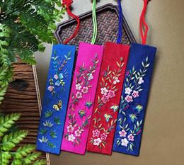 Panos tradicionais chineses on-line-Tradicional Chinês Presente Estilo Bordado Bookmark Tecido Pano Chinês Marcador Favor de Partido Frete Grátis SN2759