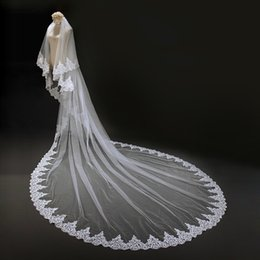 Véu de casamento de camada única on-line-3 Metros Lace Edge Véu De Noiva com Pente Único Nível 3 M Véu De Noiva Novo Velos de Novia 2019