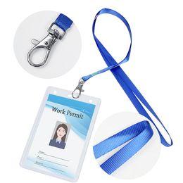 titulares de la placa de exposición Rebajas Portatarjetas de identificación con cordón de clip de metal azul Soporte de tarjeta de insignia transparente para personal de exposición de oficina Miembros del grupo 6 juegos