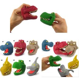 2019 famílias de dedos Os recém-chegados bebê KIDS dedo Dinosaure Big Mouse brinquedos para crianças 6 grupo de animais da família do jogo brinquedos 7.5 * 4 * 6.5 CM desconto famílias de dedos