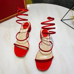 gold chunky heeled sandals Promo Codes - Designer Women Sandals Luxury Snake-Wrap Sandal Party Wedding Diamond Shoes Fashion Block Heel Strappy Style Black Red Color