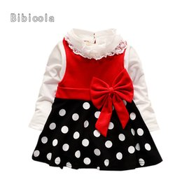 Deutschland gute qualität herbst baby mädchen kleider 2 stücke set dot bogen gürtel dress + langarm top mantel set infant baby mädchen cheap simple dress tops Versorgung