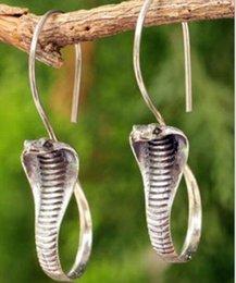 Thailändische ohrringe online-Damen Ohrringe Thai Silber Sterling Antik Silber / Gold Schlange baumeln Haken Ohrringe
