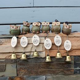 anillo jade rojo china Rebajas Accesorios de decoración del hogar Accesorios para el automóvil Adornos Zakka Adornos de búho de cerámica Campanas de viento 5 * 6 cm DHL libre 835