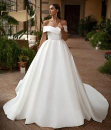 2019 vestido de casamento da princesa grega Elegante Das Mulheres A Linha de Decote Em V Longo de Cetim off Ombro Vestidos de Noiva com Bolsos Personalizar Marfim Vestidos de Noiva Brautkleid Formal Vestidos